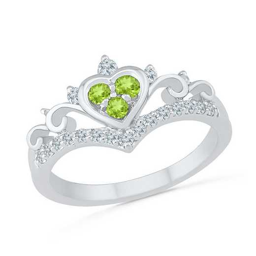 10K WHITE GOLD WITH CREATED WHITE SAPPHIRE & PERIDOT FASHION RING