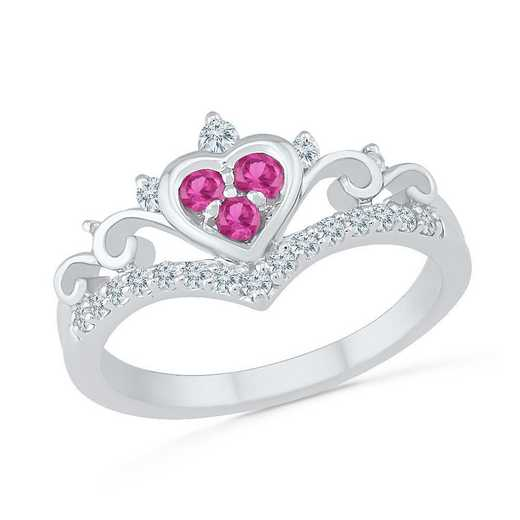 10K WHITE GOLD WITH CREATED WHITE & PINK SAPPHIRE FASHION RING