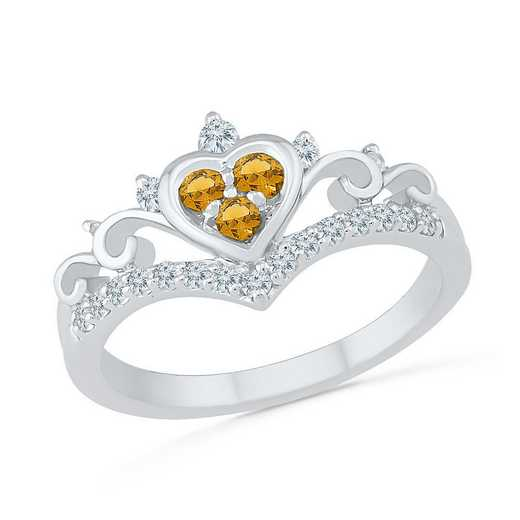 10K White Gold Created White Sapphire & Citrine Heart Ring