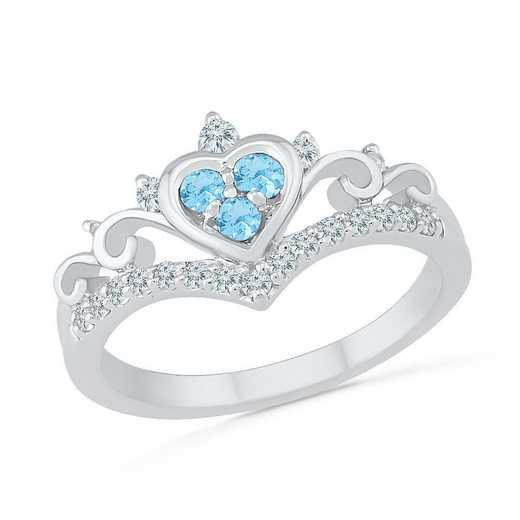 10K White Gold Created White Sapphire & Blue Topaz Heart Ring