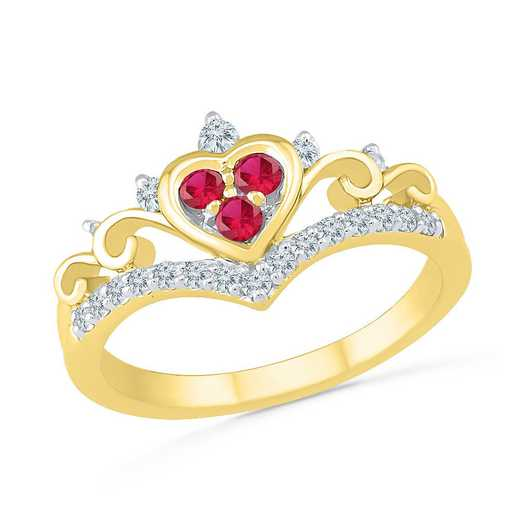 10K YELLOW GOLD WITH CREATED WHITE SAPPHIRE & CREATED RUBY FASHION RING
