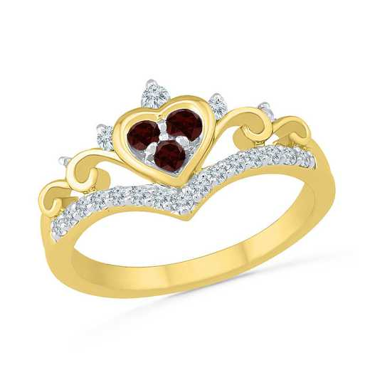 10K Yellow Gold Created White Sapphire & Garnet Heart Ring