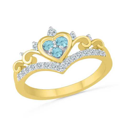 10K Yellow Gold Created White Sapphire & Aquamarine Heart Ring