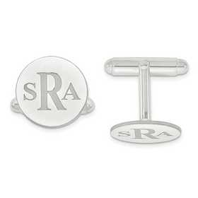 XNA617W: 14k White Gold Recessed Letters Circle Monogram Cuff Links