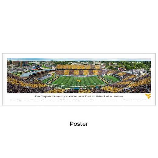 WVU7: West Virginia Mountaineers Football #7 - Stripe - Unframed
