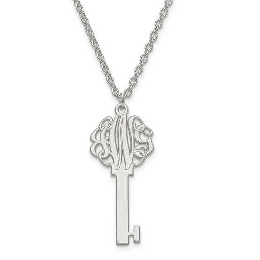 10XNA557W: 10kw Laser Polished Key Monogram Pendant with Chain