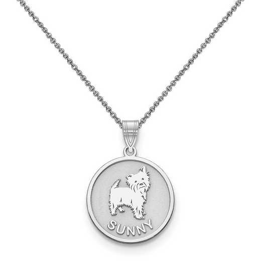 10XNA859W-10PE74-18: 10k White Gold Personalized Dog Charm