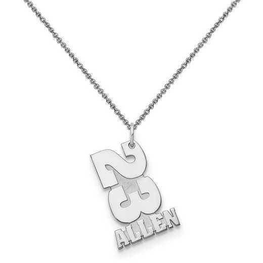 10XNA869W-10PE74-18: 10k White Gold Stacked Number and Name Charm
