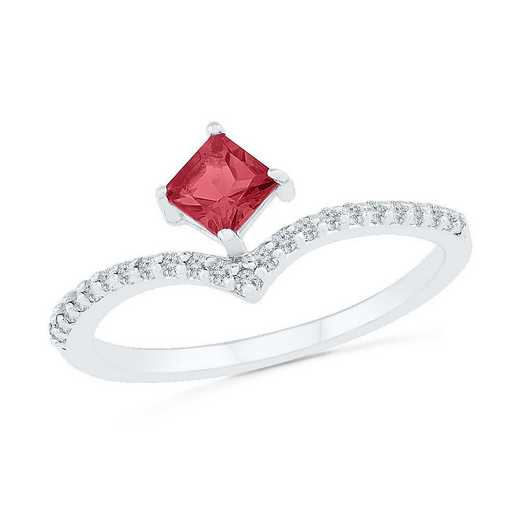 10K White Gold 1/8 CT.TW. Diamond Created Ruby Chevron Ring