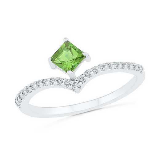 10K White Gold 1/8 CT.TW. Diamond Peridot Chevron Ring