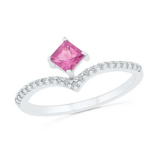10K White Gold 1/8 CT.TW. Diamond Created Pink Sapphire Chevron Ring