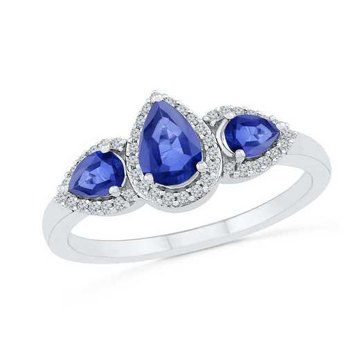 10K White Gold 1/8 CT.TW. Diamond Created Blue Sapphire Fashion Halo Ring