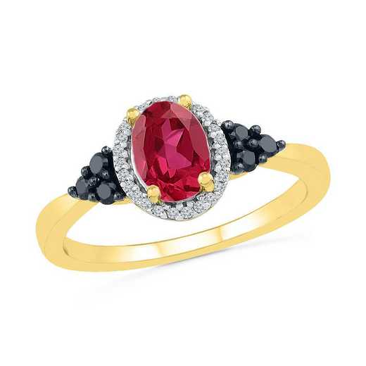 10K YELLOW GOLD 1/6CTTW WHITE & BLACK DIAMOND WITH CREATED RUBY FASHION RING