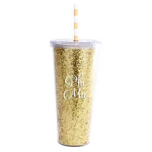 AA3003PM T: Alex Co GLITTER TUMBLER PHI MU