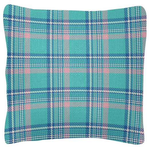 KA204815: Karma SQUARE PILLOWS TURQ/PINK PLAID (S19)