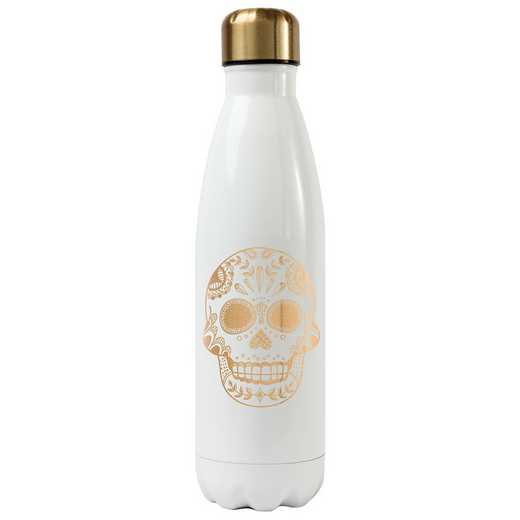 KA162029W: Karma SUGAR SKULL WATER BOTTLE WHITE (S17)