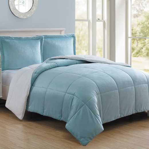 VCNY Home Micro Mink Sherpa Comforter Set -Blue