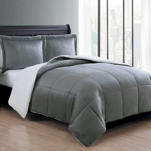 VCNY Home Micro Mink Sherpa Comforter Set-Charcoal