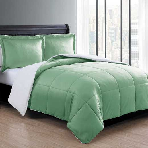VCNY Home Micro Mink Sherpa Comforter Set-Green
