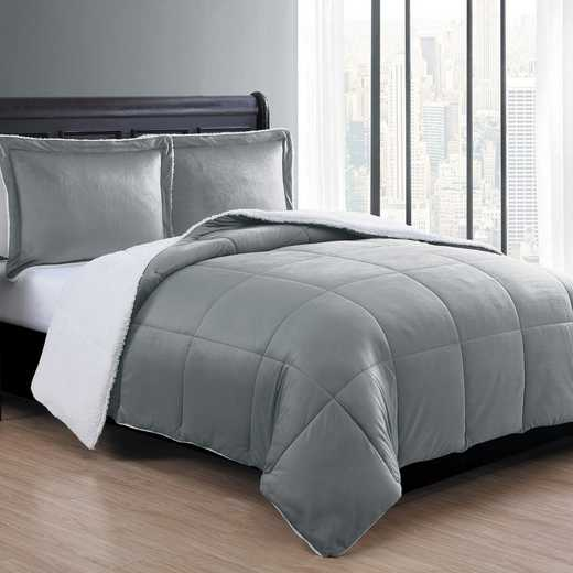 VCNY Home Micro Mink Sherpa Comforter Set -Grey