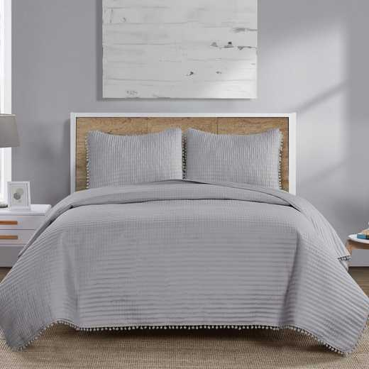 VCNY Home Pom Pom Quilt Set-Grey