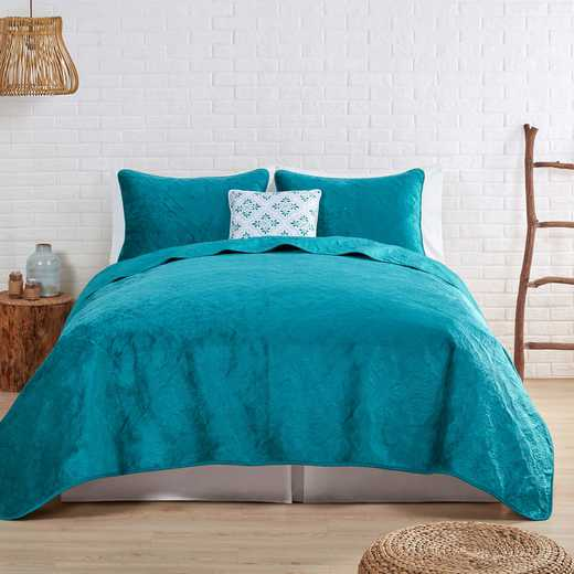 VCNY Home Solid Starburst Velvet Quilt Set-Teal