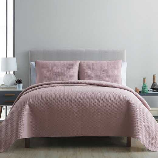VCNY Home Waffle Pinsonic Quilt Set -Mauve