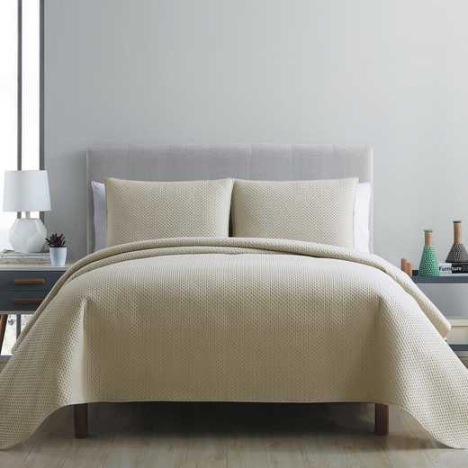 VCNY Home Waffle Pinsonic Quilt Set-Taupe