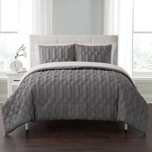 VCNY Home Linx Embossed Bed In A Bag Comforter Grey