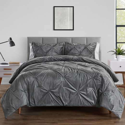 VCNY Home Carmen Kiss Pleat Reverse Micro Comforter Set Grey