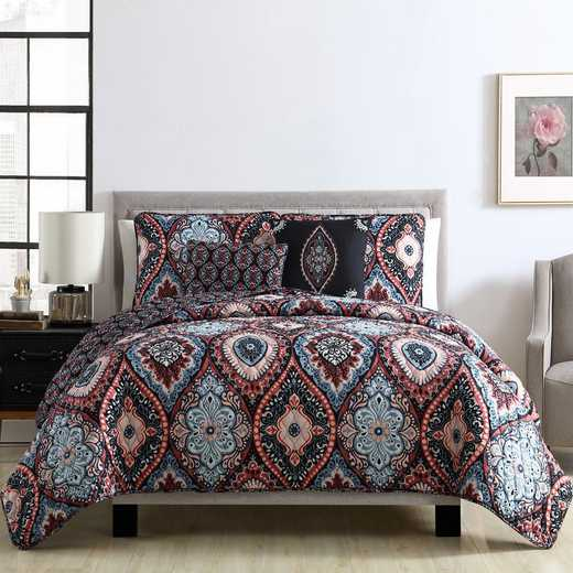 VCNY Home Coria Reversible Quilt Set Burgundy/Blue