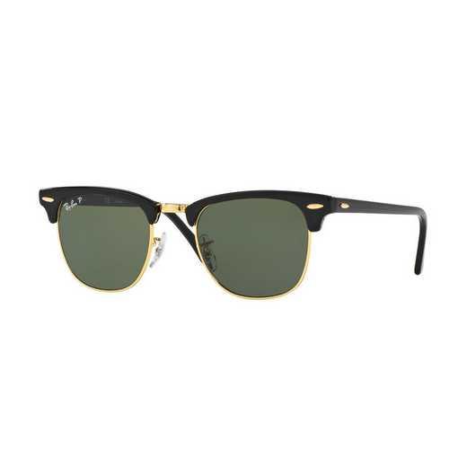 0RB3016901584921: Polarized Clubmaster Sunglasses - Black