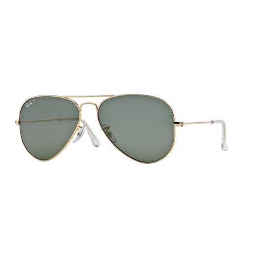 0RB30250015858: Polarized Aviator Sunglasses - Gold & Green