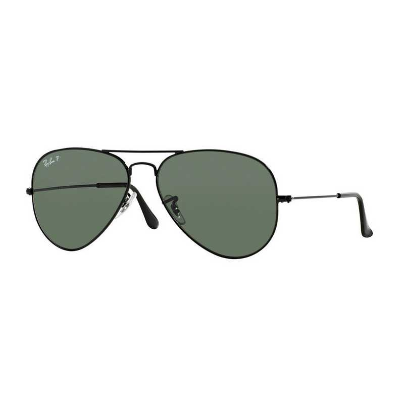0RB30250025858: Polarized Aviator Sunglasses - Black & Green