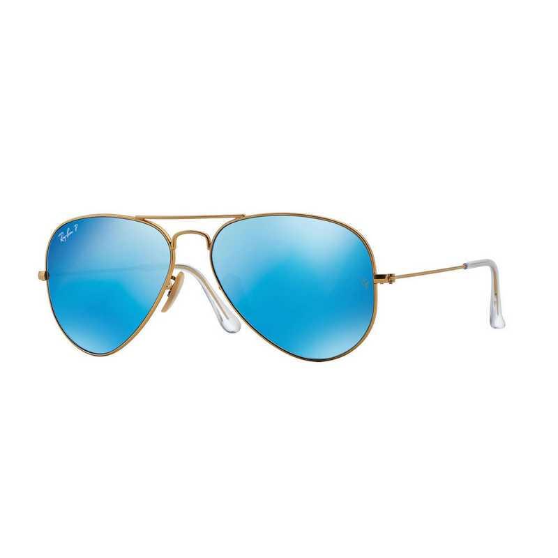 0RB30251124L: Polarized Aviator Sunglasses - Matte Gold &  Blue Mirror