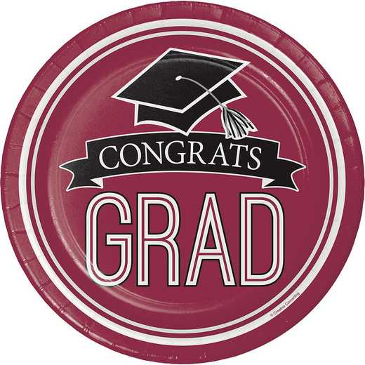 DTC320044DPLT: CC Graduation School Spirit Burgundy Red Paper Plates