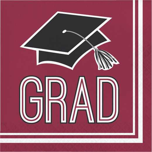 DTC320042NAP: CC Graduation School Spirit Burgundy Red Napkins