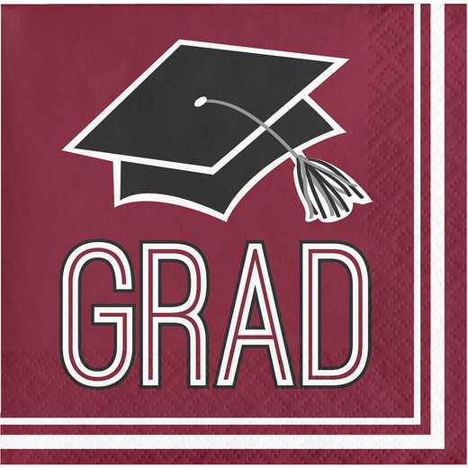 DTC320041BNAP: CC Graduation School Spirit Burgundy Red Beverage Napkins