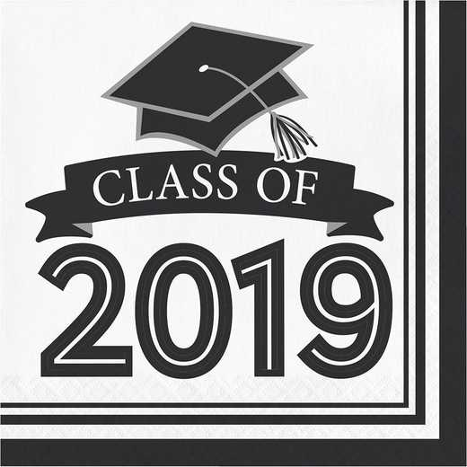 DTC335420NAP: CC Black and White Class Of 2019 Napkins
