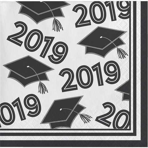 DTC335412BNAP: CC Black and White Class Of 2019 Beverage Napkins