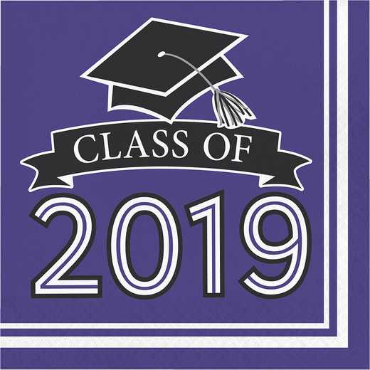 DTC335418NAP: CC Purple Class Of 2019 Napkins