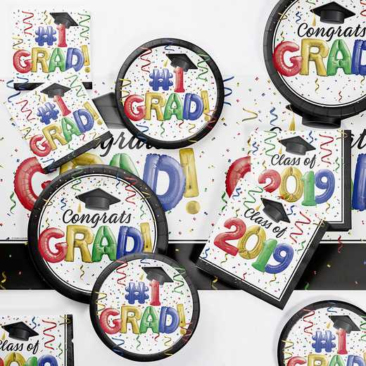 DTC3878E2D: CC #1 Grad 2019 Deluxe Party Supplies Kit