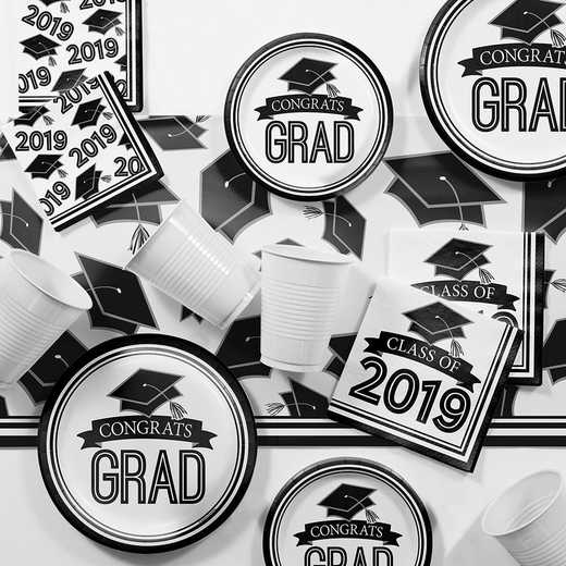 DTCBKWHT2E: CC Black and White 2019 Graduation Party Supplies Kit