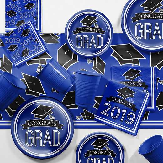 DTCCOBLT2E: CC Cobalt Blue 2019 Graduation Party Supplies Kit