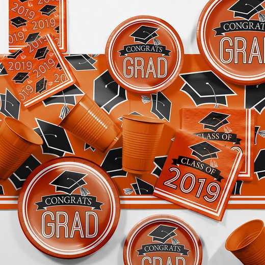 DTCORNGE2E: CC Orange 2019 Graduation Party Supplies Kit