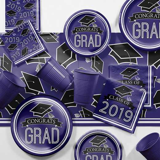DTCPURPL2E: CC Purple 2019 Graduation Party Supplies Kit