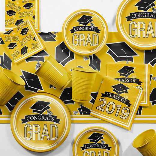 DTCSBYLW2E: CC Yellow 2019 Graduation Party Supplies Kit