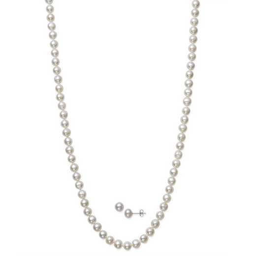 QSET-10409-BF: STERLING SILVER 6-7MM PEARL NECKLACE- BRACELET AND STUD SET