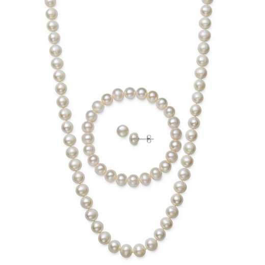 QSET-11176-BF: STERLING SILVER 7.5-8.5MM PEARL NECKLACE- BRACELET- STUD SET
