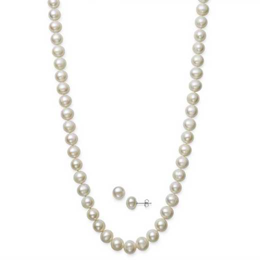 QSET-11003-BF: STERLING SILVER 8.5-9.5MM PEARL NECKLACE- BRACELET- STUD SET